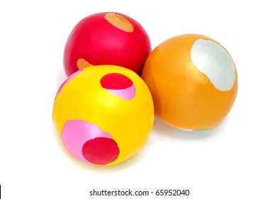 some juggling balls isolated on a white background