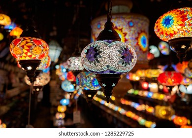 Some lamps hanging in a store