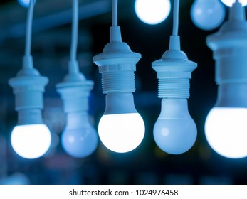 some led lamps blue light science technology background