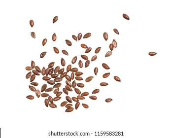 Some linseeds or flax seed spread out and isolated on white background seen from above