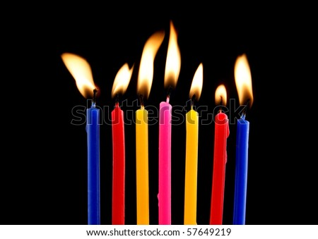some lit birthday candles close stock photo edit now 57649219