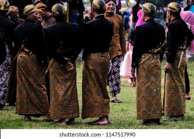 Some man in Wonosobo Central Java, wearing Batik cloth and Blangkon in their head to celebrate their city birthday. 24 July 2018