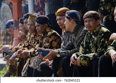 Some man in Wonosobo Central Java, wearing Batik cloth and Blangkon in their head to celebrate their city birthday. Monday 24 July 2017