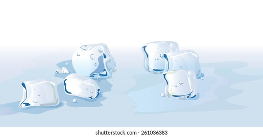 Some melting ice cubes sitting on the ground.