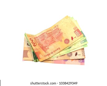 Some mexican peso 100 200 500 and 1000 bills isolated on white background