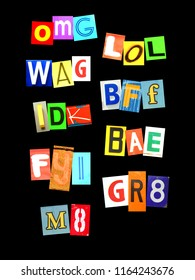 Some of the most popular abbreviation for social media with colorful newspaper letters