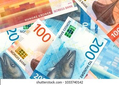 some new 100 and 200 norwegian krone bank note obverse