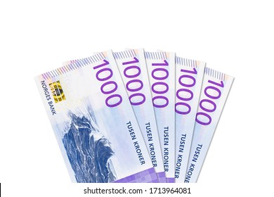 some new 1000 norwegian krone banknotes with copy space