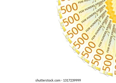 some new 500 norwegian krone bank notes with copy space