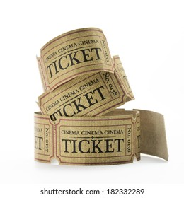 some old cinema tickets with white background