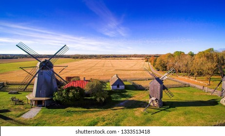 Some of the old windmills in Angla located in the small farm town in Saaremaa Estonia