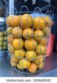 Some oranges over a local store table