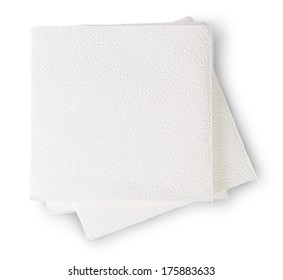 Some Paper Napkins Isolated On White Background