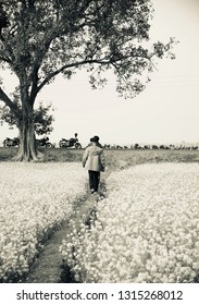 Some people walking through an agricultural field black and white photo