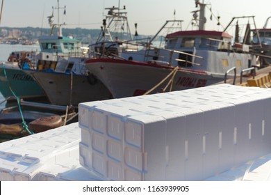 Some polystyrene boxes used to preserve the caught fish while the the fishing boat is still in open sea