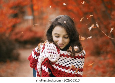 Some portraits of smiling girl, botanical garden, autumn look