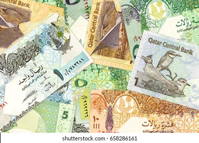 some qatari riyal bank notes background