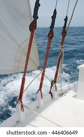Some of the rigging on a sailboat