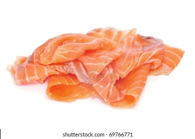 some slices of smoked salmon on white background