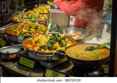 Some spicy dishes of traditional street food in Camden market