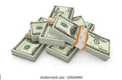 some stack of us dollars (3d render)