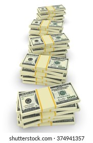Some stacks of money. 100 dollars banknotes