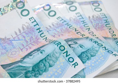 Some swedish money on an isolated white background