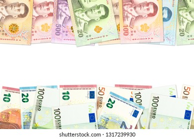 some thai baht and euro banknotes indicating trade relations with copyspace