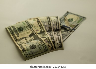 Some United State Dollars on the white background,isolated.