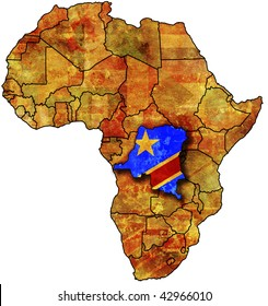 some very old grunge map with flag of congo
