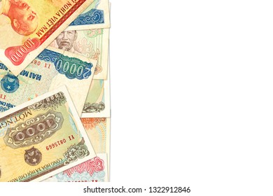 some vietnamese dong bank notes with copy space indicating growing economy