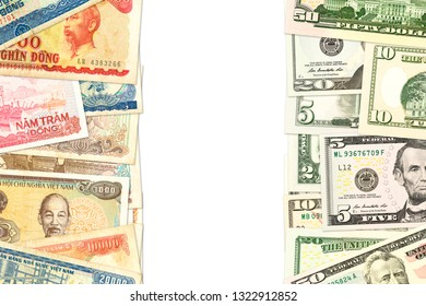some vietnamese dong bank notes and us-dollar bank notes with copyspace indicating trade relations