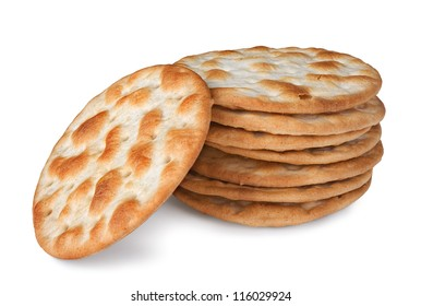 some wheat  crackers isolated on white background