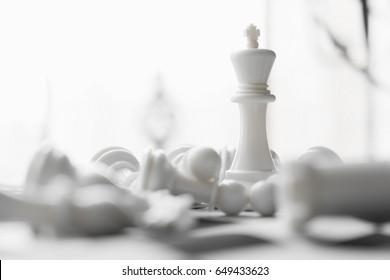 some white and black chess on board. Chess pawns.