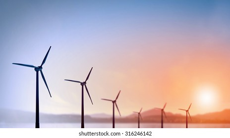 Some windmills standing in desert. Power and energy concept