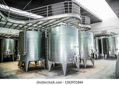 Some wine metallic fermentation tanks. Wine industry in winery Vina Undurraga in Talagante Chile. The foundation was established in 1885 by Don Francisco Undurraga.