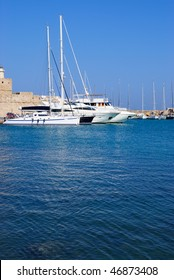 Some yachts in port. Rhodes island, Greece