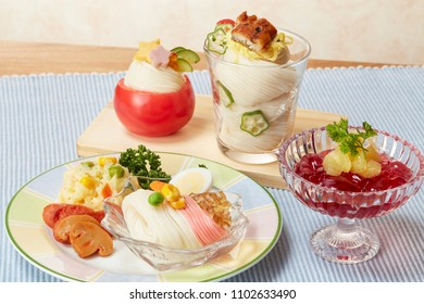 Somen party (Somen is japanese fine white noodles)