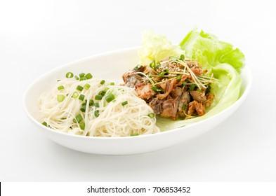 Somen(Japanese Somen Noodles) and kimuchi canned mackerel