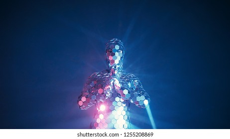 Someone making yoga fitness exercise in futuristic mirror suit under neon lights. Future sports concept. Authentic shot.