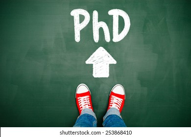 Someone wearing red sneakers heading towards his PhD.