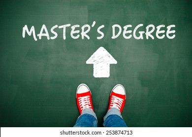 Someone wearing red sneakers heading towards his master's degree.