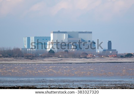 SOMERSET, UK - FEBRUARY 28, 2016: Hinkley Point Nuclear Power Station Somerset, UK. Proposed construction site of new nuclear power station project (Hinkley Point C).