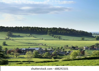 Somerset village nestling in a pastoral English countryside landscape under a summer blue sky with white clouds, showing trees, church, farm buildings, fields, hedges, trees, hill, a wood and houses.