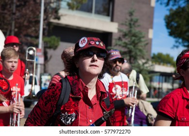 Somerville, Massachusetts, USA - OCTOBER 11, 2015 - 2nd day of HONK Festival of activist street bands. Brass Bands in outlandish costumes processing to Davis square playing and dancing. man's portret