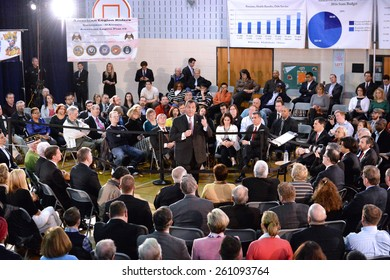 Somerville,New Jersey-MARCH 10,2015:New Jersey Governor Chris Christie welcomes town hall participants during his 130th Town Hall Meeting at Van Derveer School on March 10,2015 in Somerville,NJ.