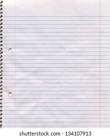 A somewhat dirty and wrinkled page of a spiral bound lined notebook.