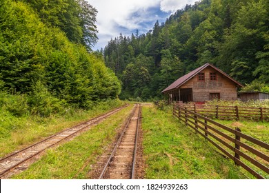 Somewhere In The Middle Of Nowhere. Railroad Track In Viseu de Sus, Maramures, Romania