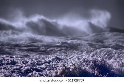 Somewhere in Pacific ocean raging hurricane: huge waves of swell rolling in Western Pacific (Aleut-Commander Islands)