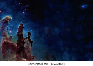 Somewhere in space near Pillars of creation. Milky fay. Far galaxies. Science fiction. Elements of this image were furnished by NASA.